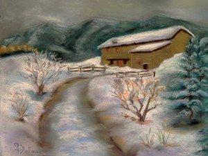 Paysage d'hiver pastel